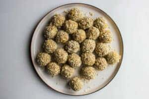 The finished bitterballen ready to be fried.