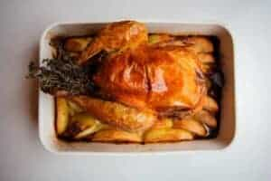 The roasted chicken and vegetables.