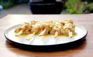The chicken on skewers, ready to be cooked.
