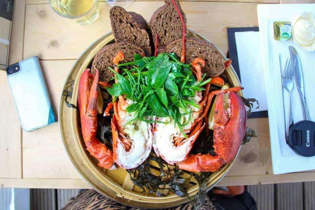 A whole lobster at the oyster farm in Yerseke.