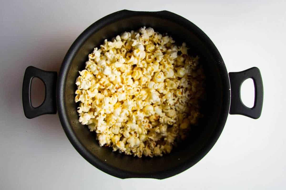 Popcorn popped in a pot.