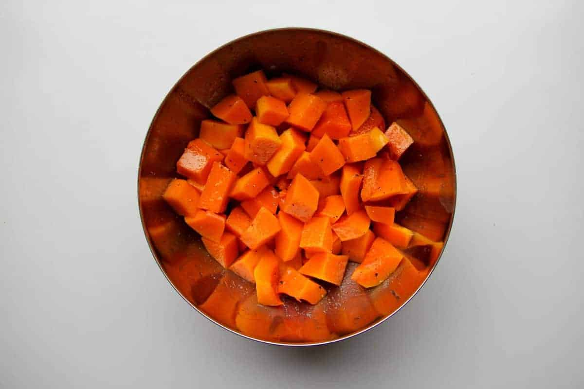 Squash in a bowl with salt