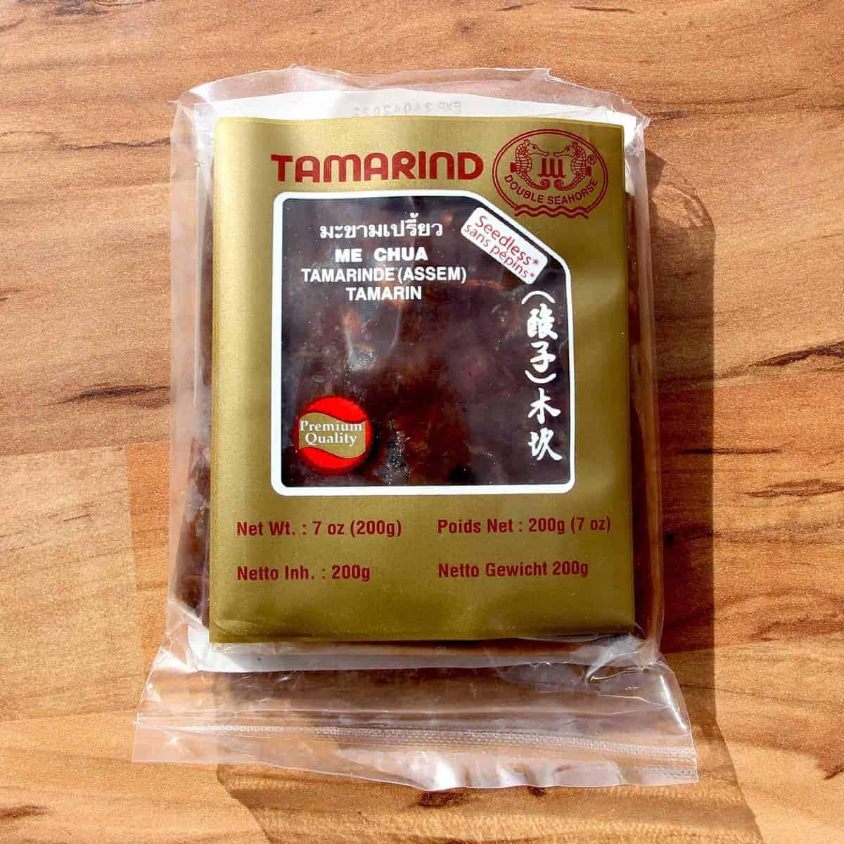 Tamarind paste in a bag.