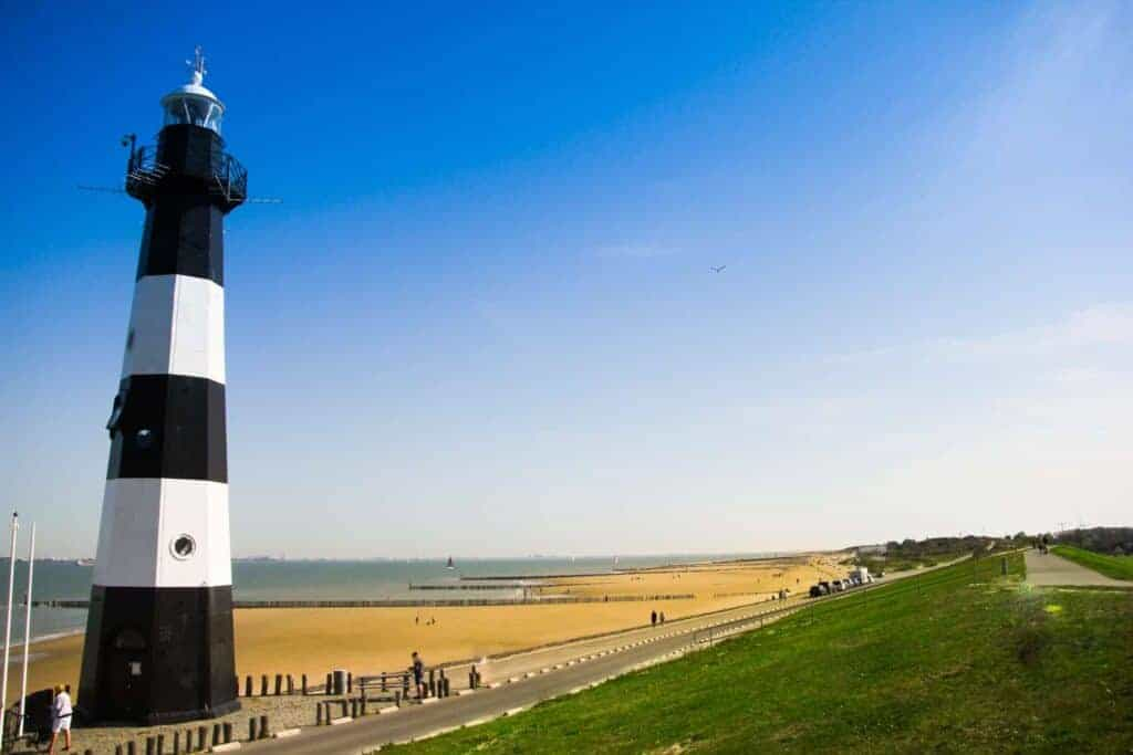 The lighthouse tower in Zeeland, the Netherlands.