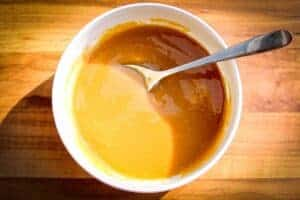 The finished miso dressing in a bowl.