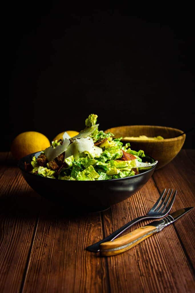 Caesar salad - The King of salads. Rich creamy dressing full of umami flavour and fresh crisp lettuce.