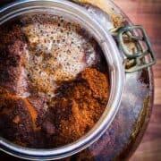A big jar of cold brew coffee.