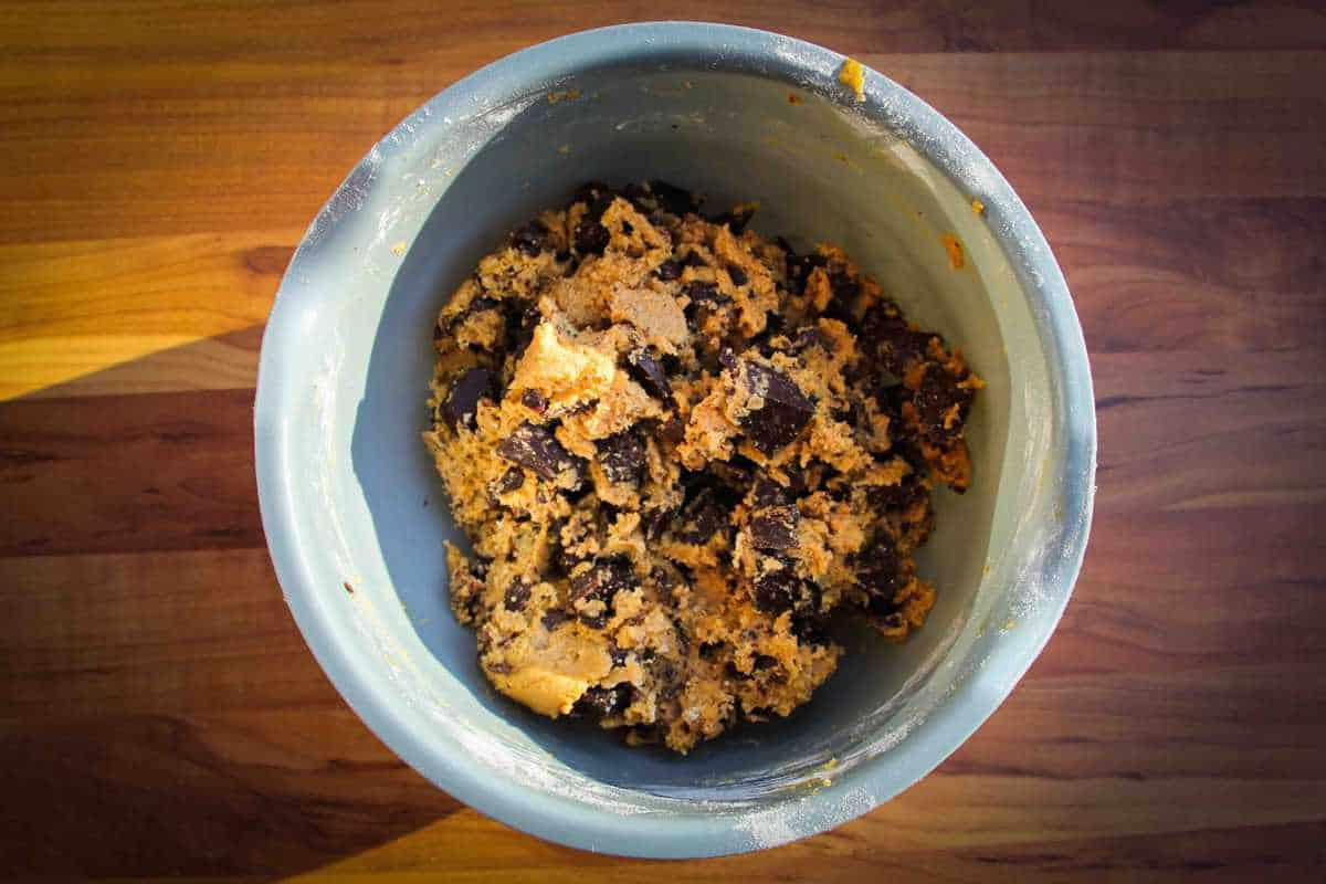Finished cookie dough in the bowl.