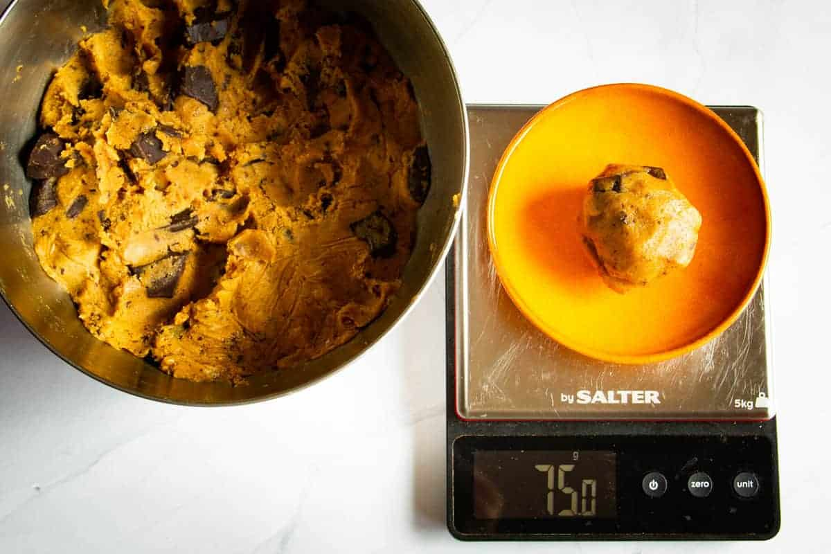Weighing the cookie dough.