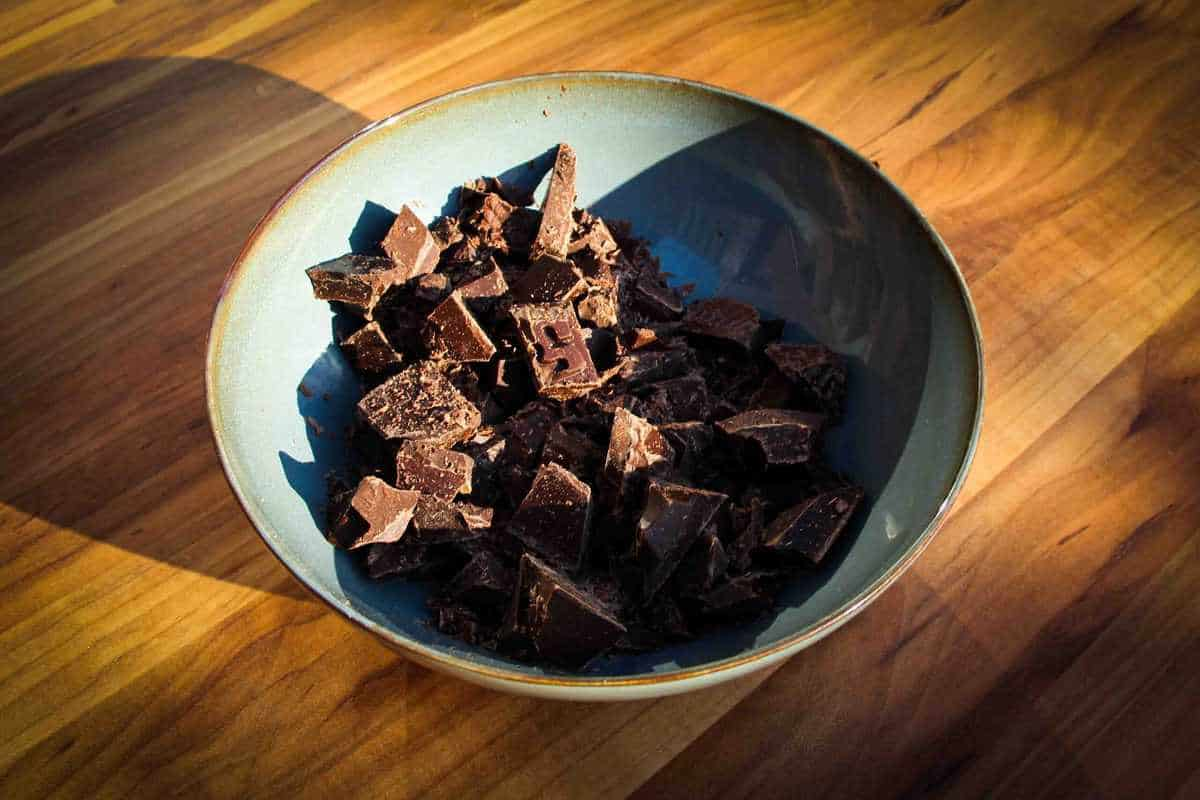 The chocolate chunks in a bowl.