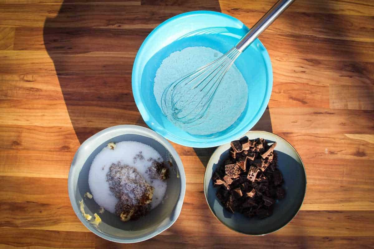 3 bowls measured out for the chocolate chip cookies.