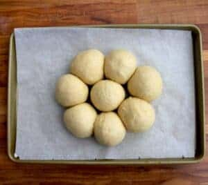 The balls attached together on a tray.