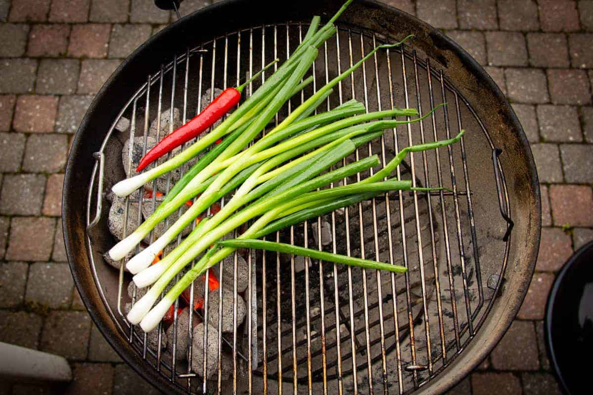 Grilling the green onions and chilli.
