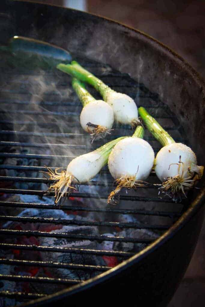 Green onions charing over charcoal fire.