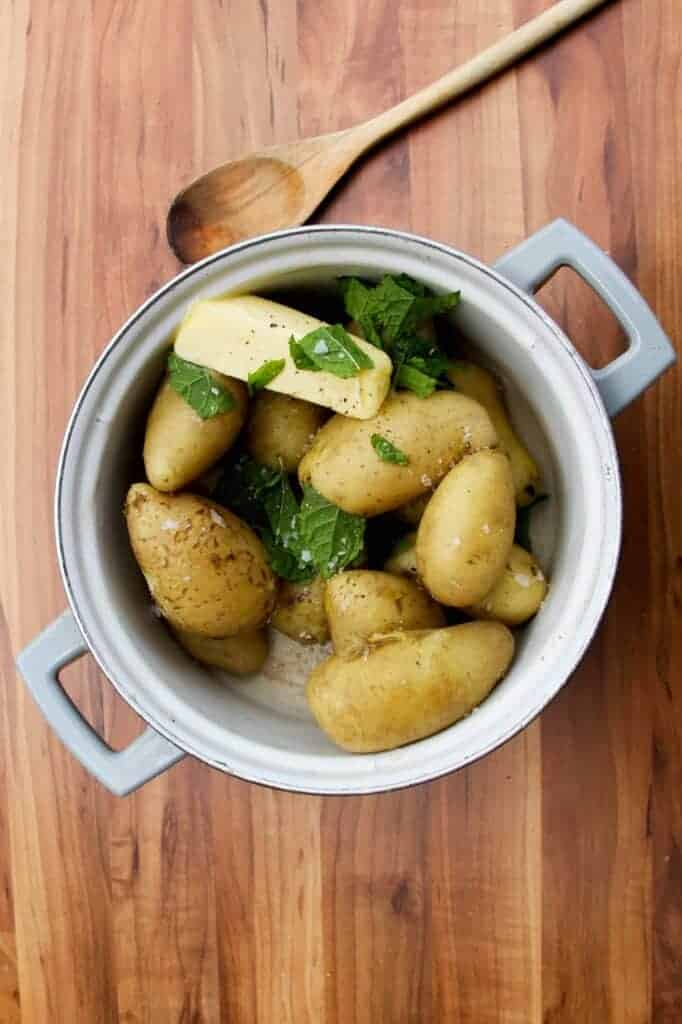 Boiled new potatoes with butter and mint.