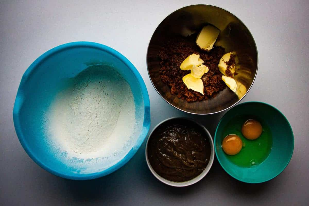 All the ingredients ready for the sticky toffee pudding.