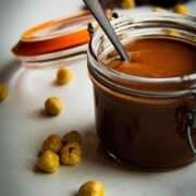 Vegan nutella in a mason jar.