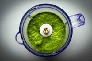 The finished pesto in the food processor.