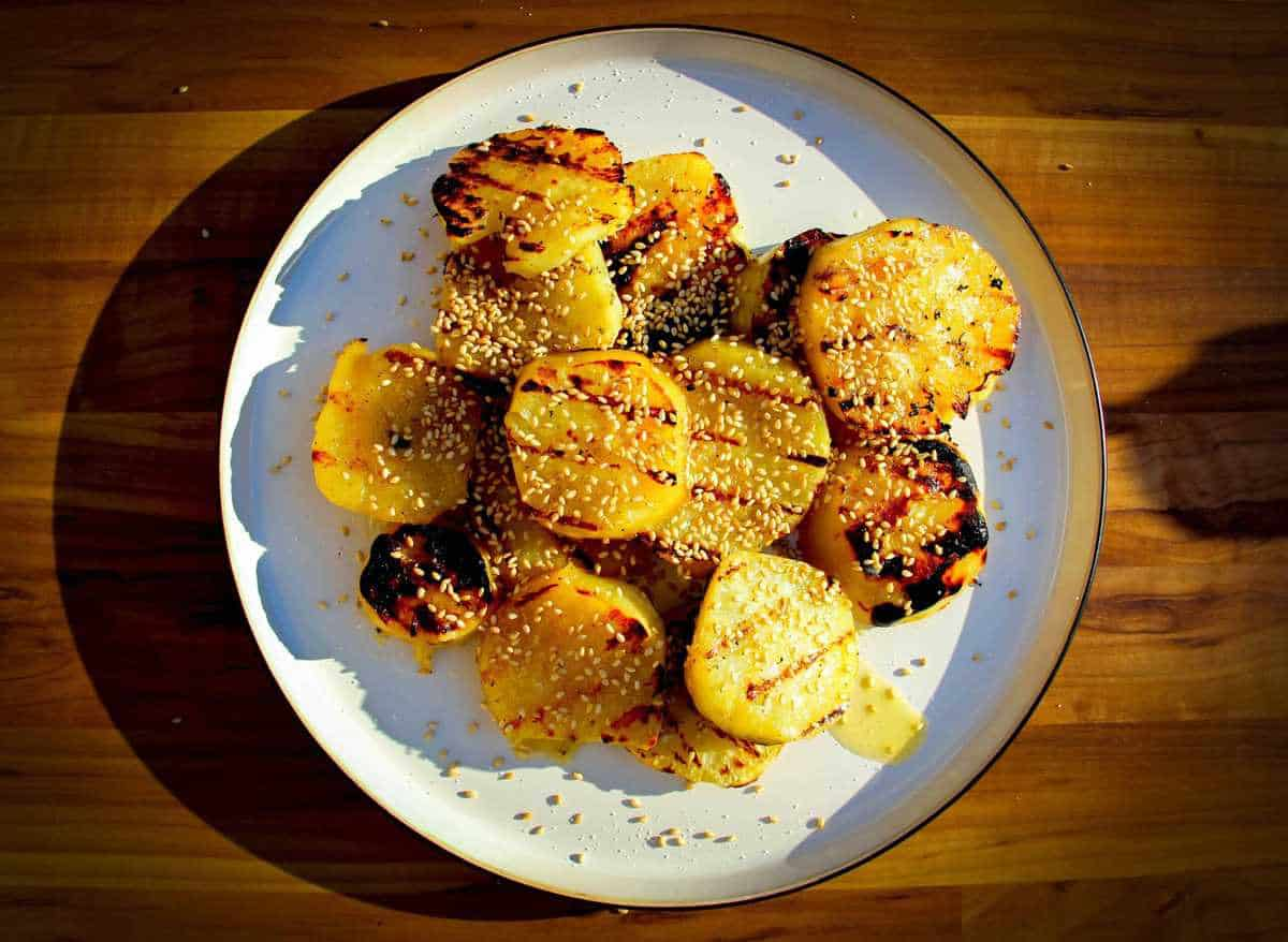 White sweet potato with maple, butter and sesame.