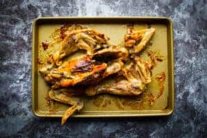 The roasted chicken bones for the instant pot bone broth.