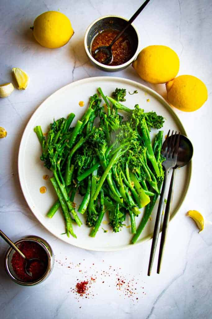 Sautéed Broccolette with Garlic, Lemon and Aleppo Chili