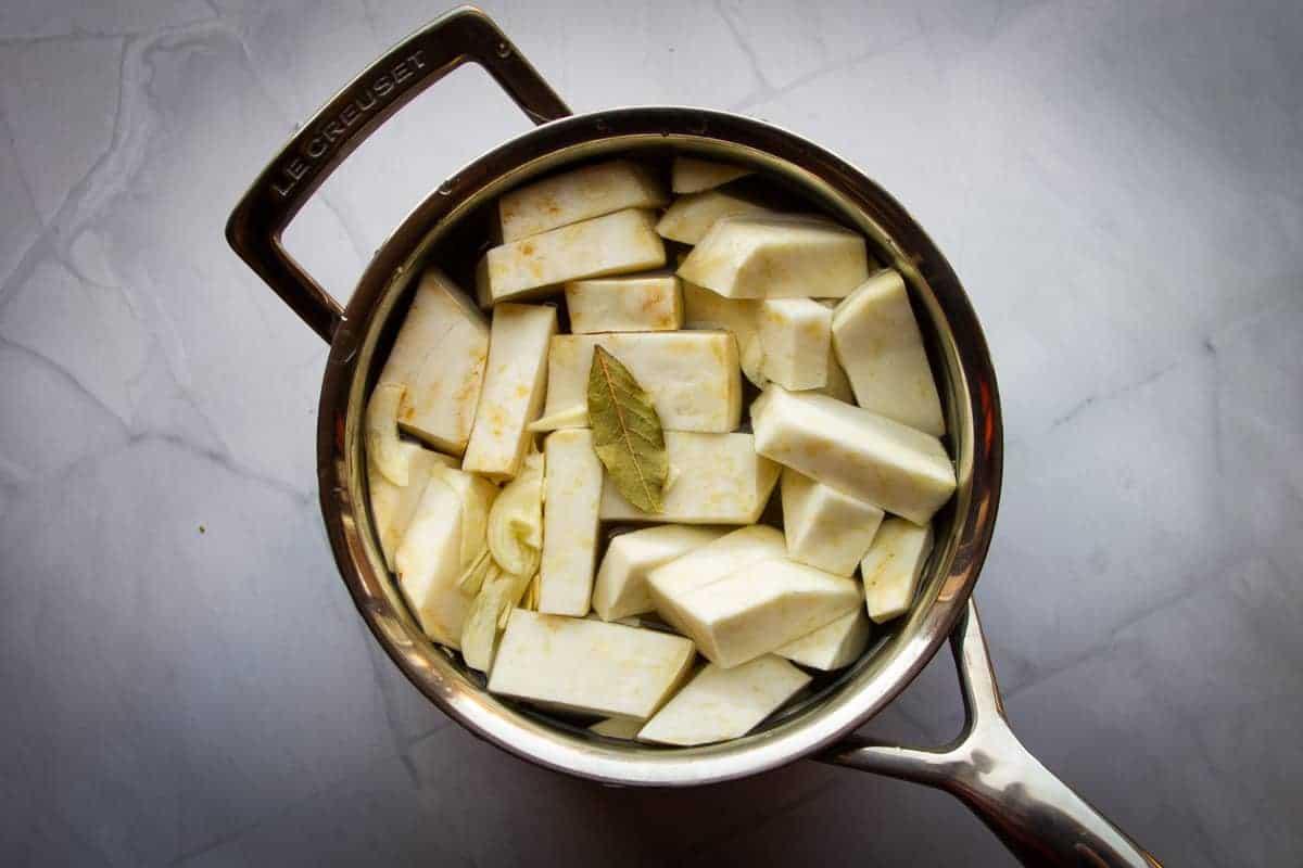Celery root mash for beef cheeks