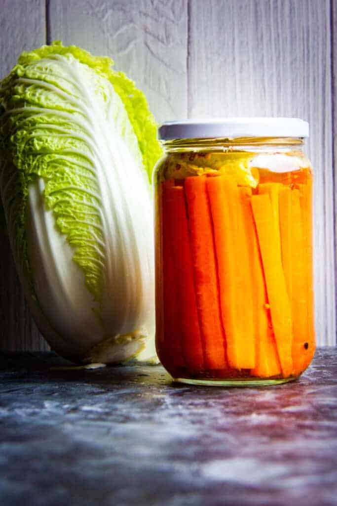 Fermented Carrots with cabbage and raw carrots on the side.