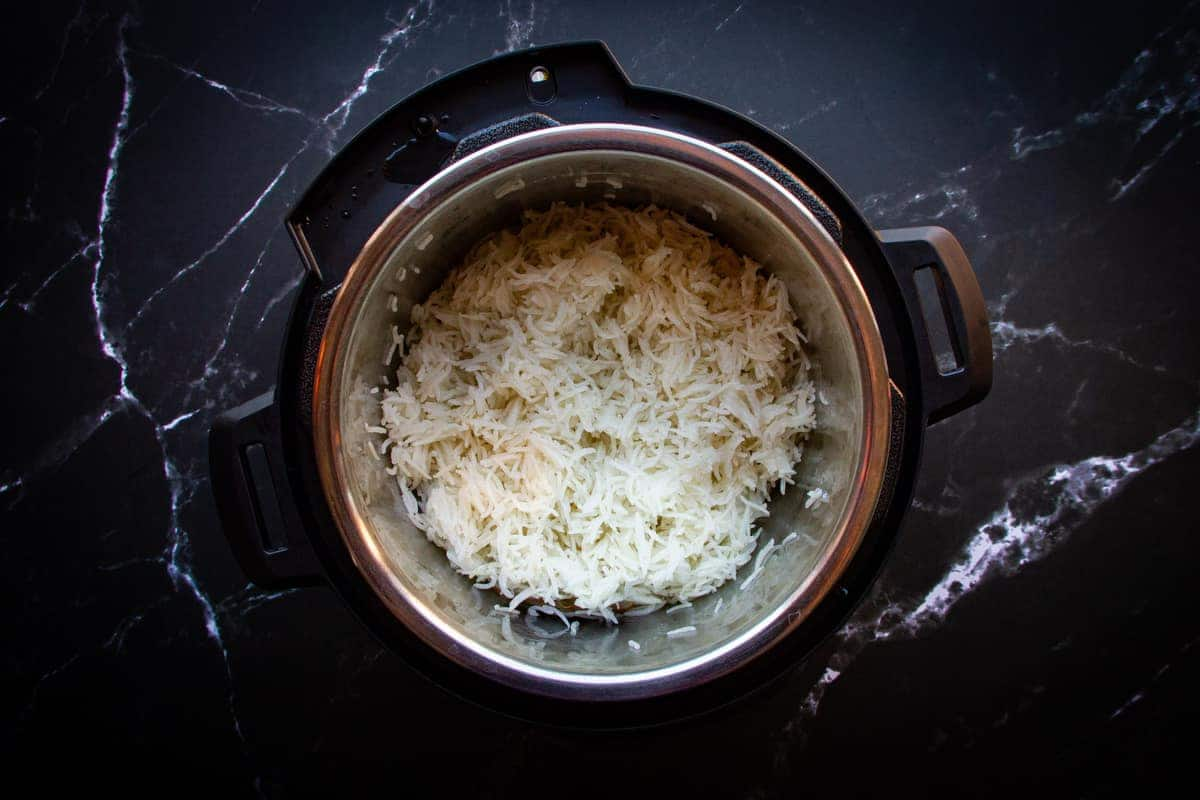 The finished basmati rice in the instant pot.