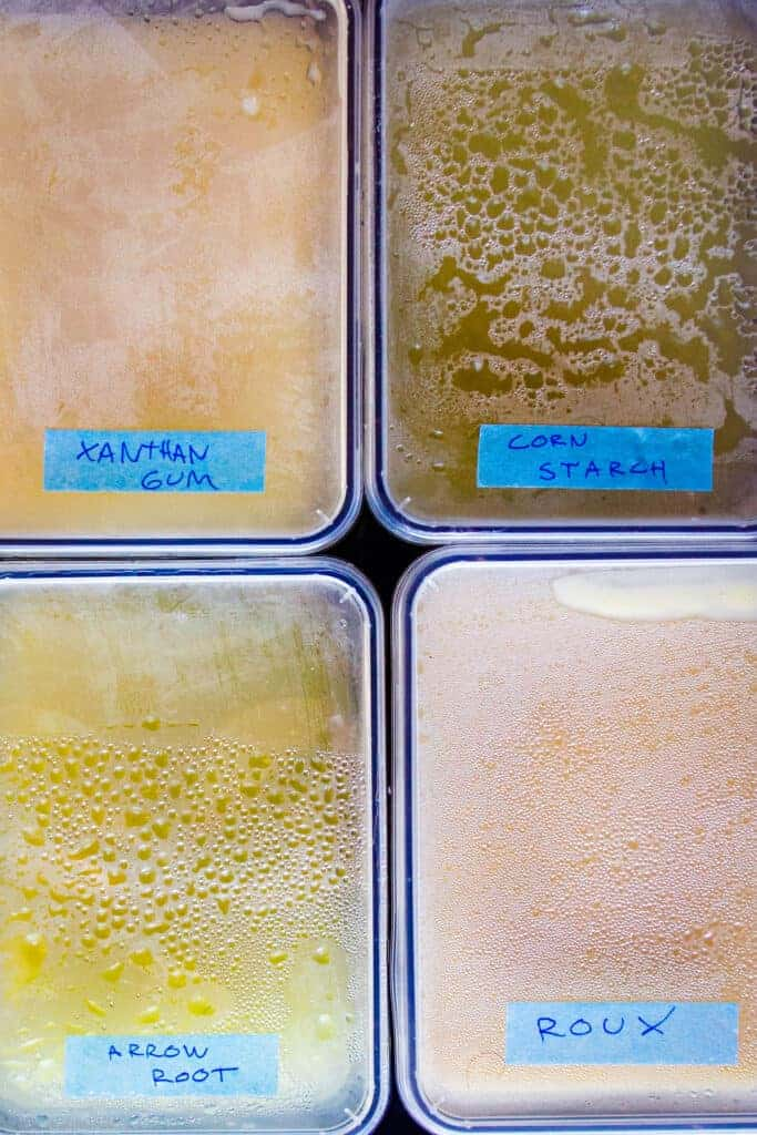 4 different sauces thickened with xanthan gum, cornstarch, arrowroot and flour