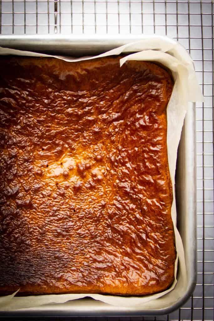 Vanilla brownies ready in a baking dish