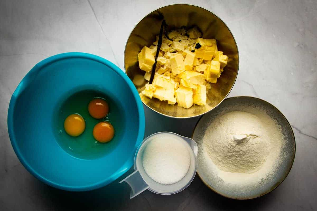 All of the ingredients for the vanilla brownies