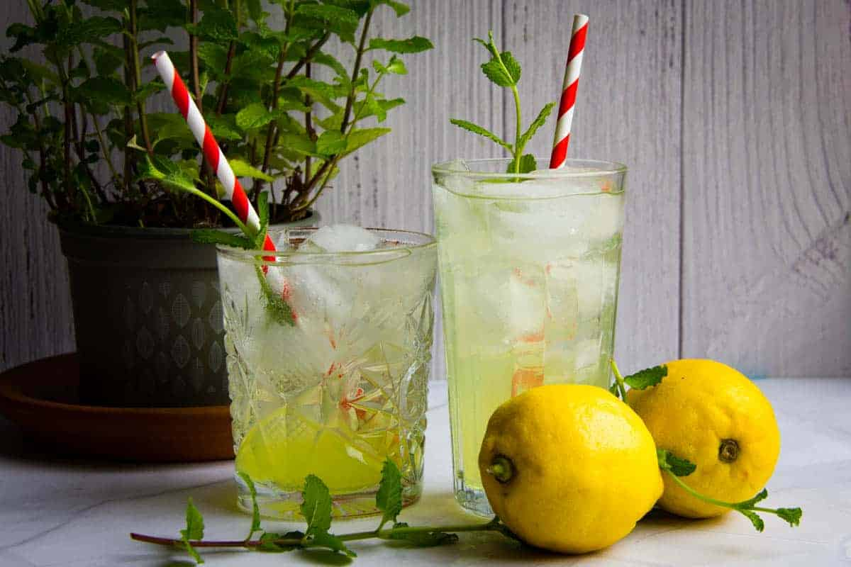 Limoncello-spritz-in-two-glasses-with-paper-straws