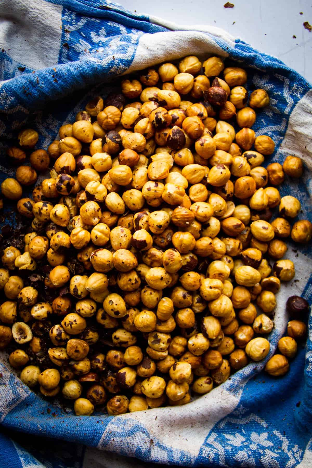 roasted-hazelnuts-in-a-blue-cloth