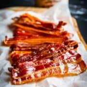 Maple bacon on a board.
