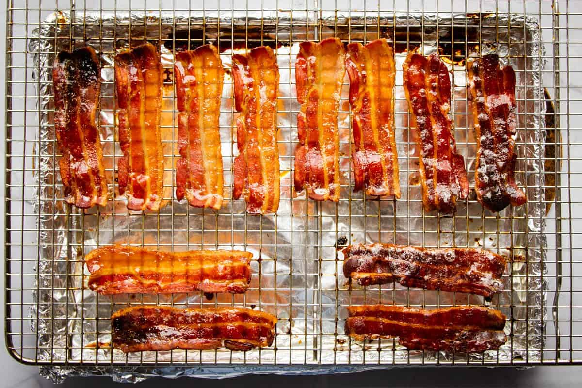 The bacon finished on the resting track.