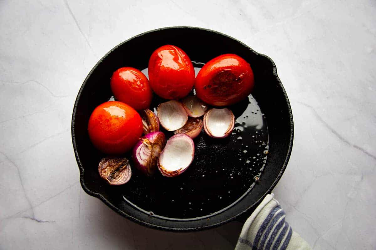 Browning the tomatoes and onions.