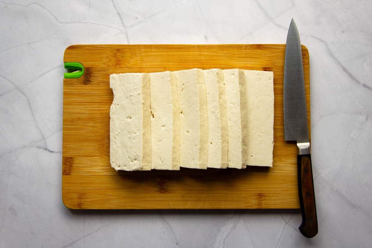 Tofu sliced into thick pieces