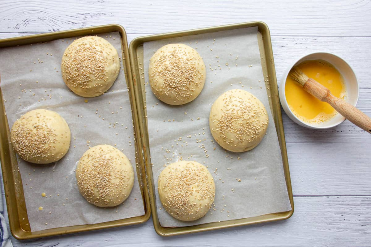 The burger buns brushed with egg wash and topped with sesame seeds.