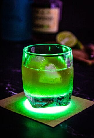 The incredible hulk drink in a whisky glass.