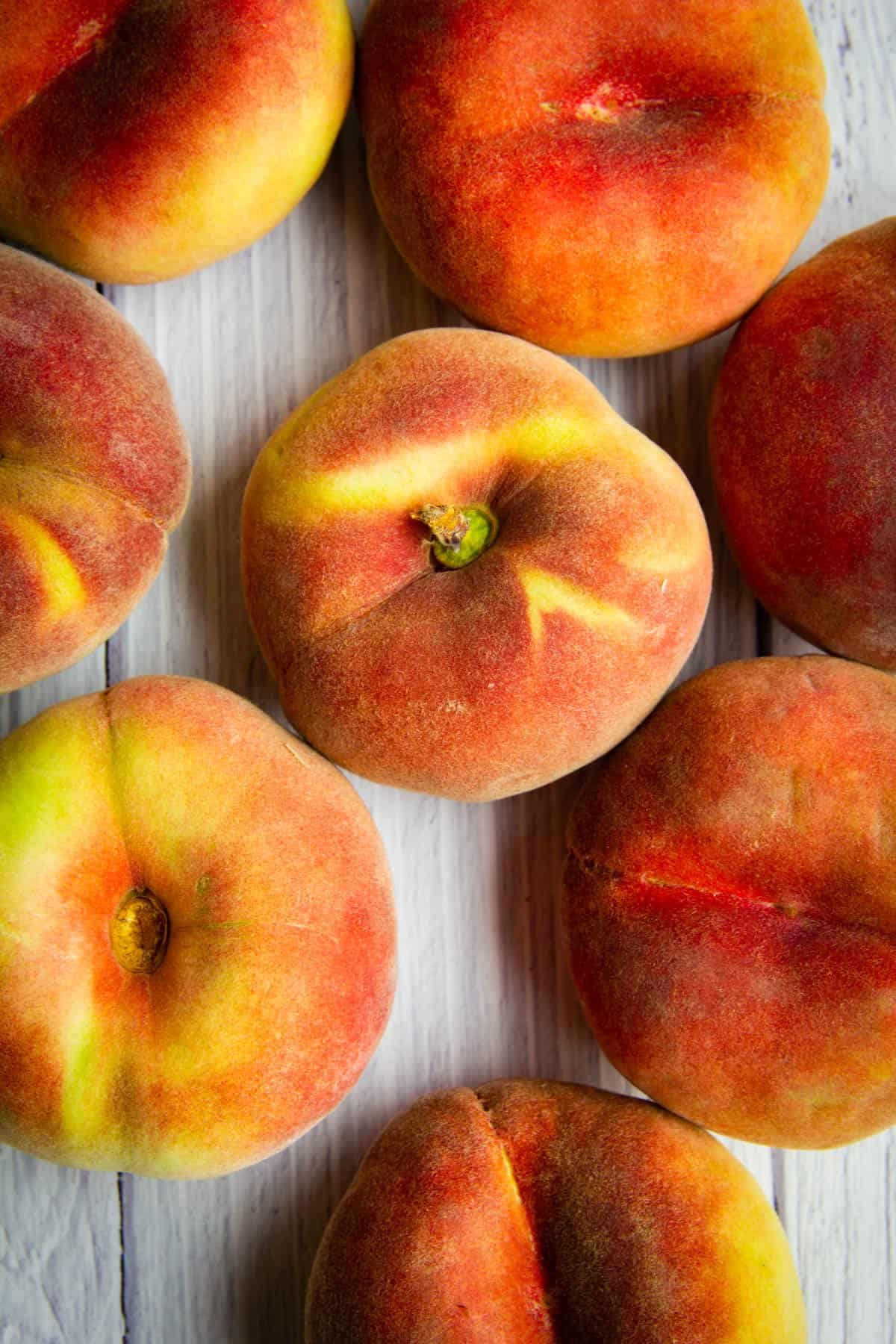 A close up of donut peaches for the white peach puree.