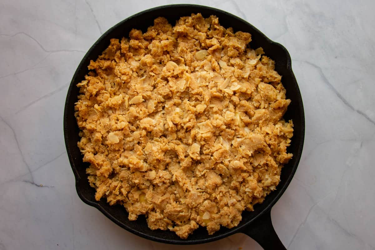 The apple crisp ready to be baked.