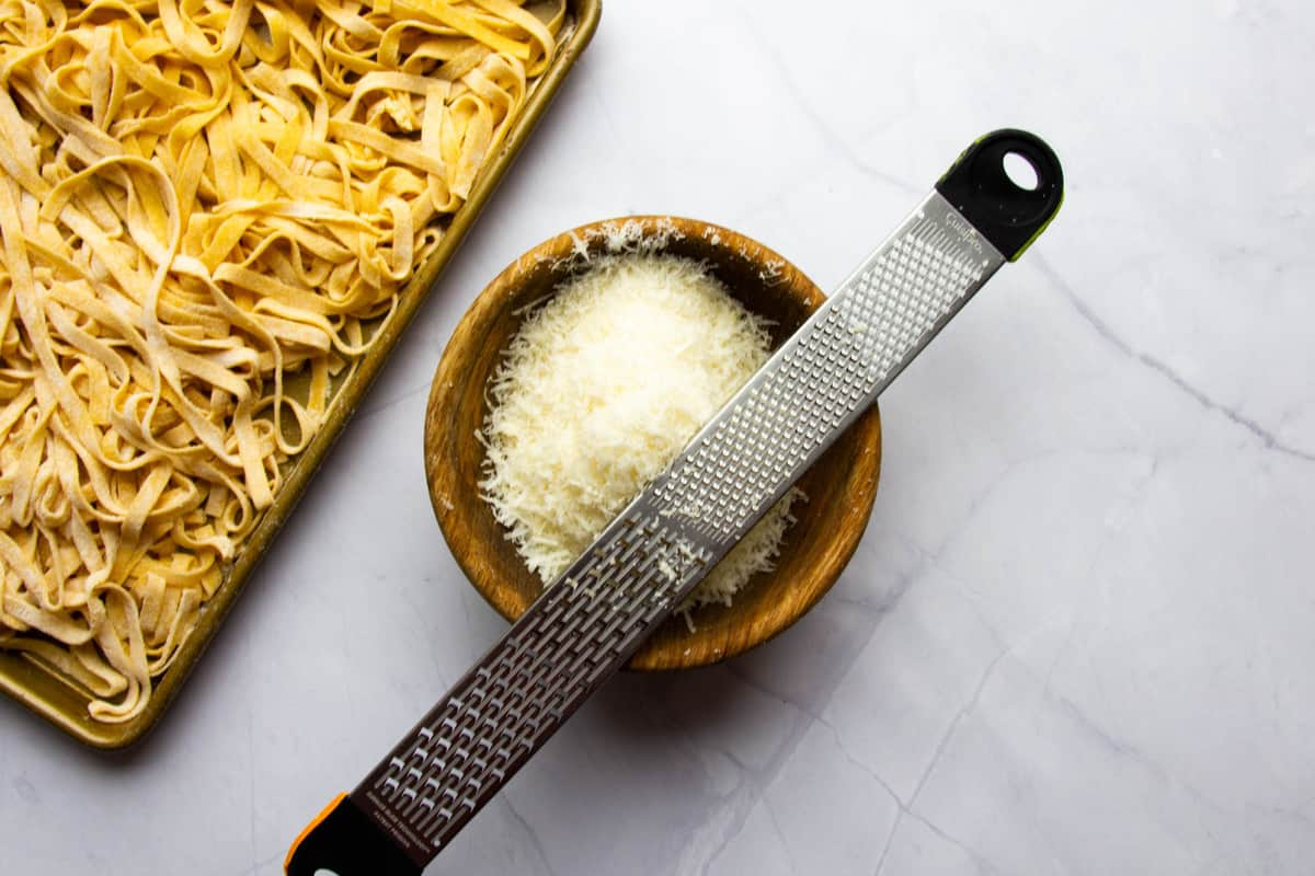 The cheese grated through a fine microplane.